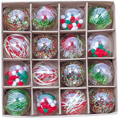 Valery Madelyn Palle di Natale 16 Pezzi 8cm Palline di Natale, Happy Hour Rosso Verde e Bianco Trasparente Infrangibile Palla di Natale Ornamenti Decorazione per la Decorazione Dell'Albero di Natale