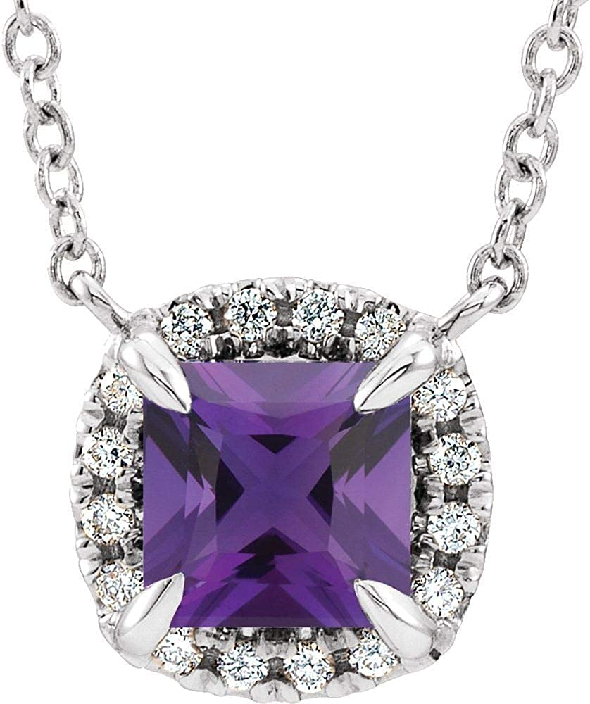 14kt White Gold Ranking TOP14 4x4mm Square Amethyst Neck 16