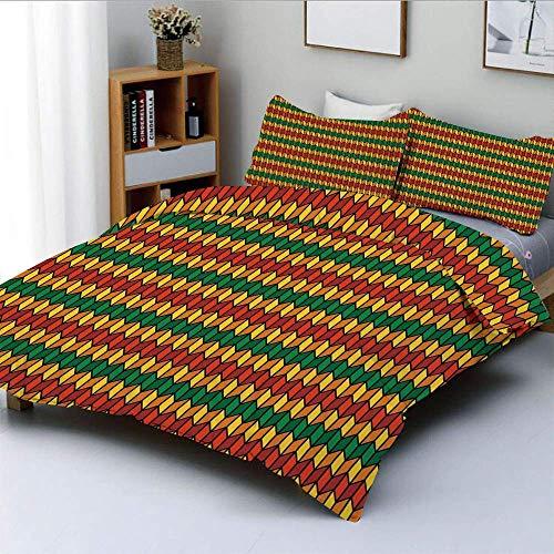 Juego de funda nórdica, formas inspiradas en triángulos geométricos en zigzag en colores de bandera Lámina decorativa Juego de cama de 3 piezas con 2 fundas de almohada, caléndula naranja y verde, el