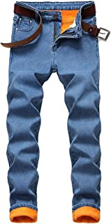 Mens Warm Sherpa Lined Biker Jeans Stretch Slim Fit Fleece Denim Pants