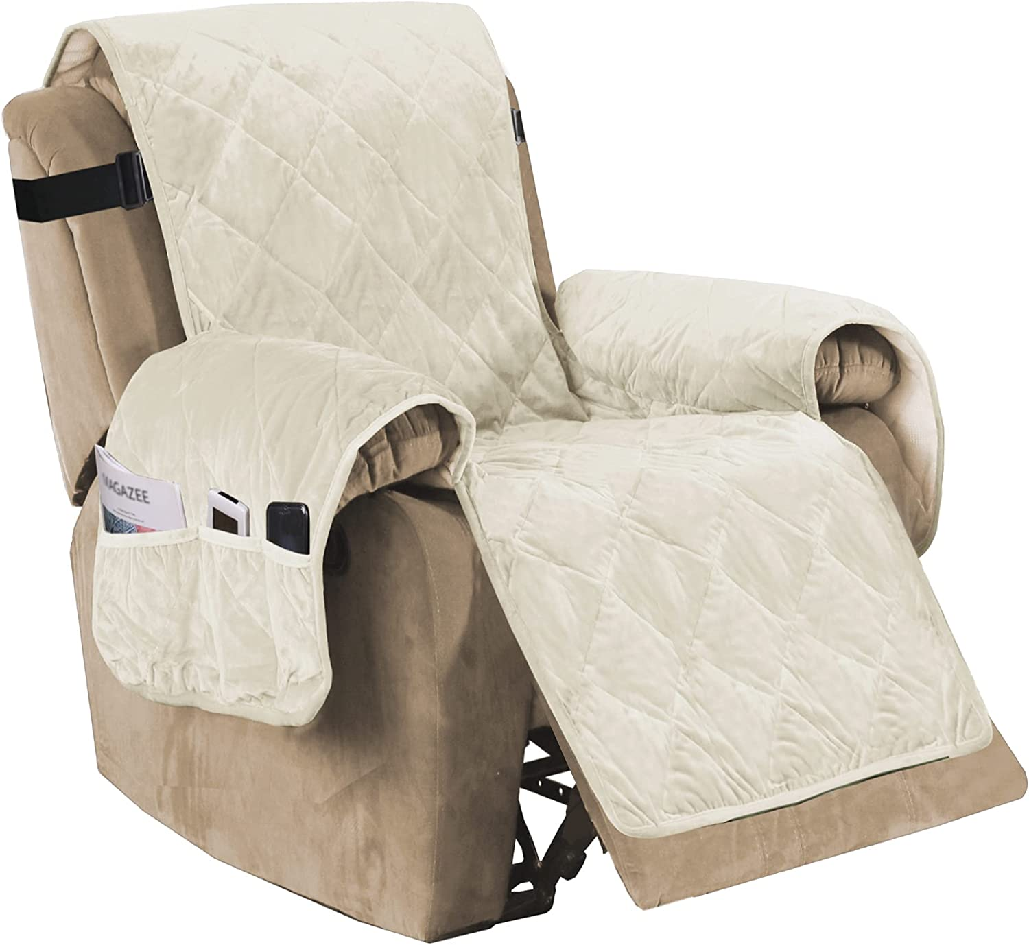 Recliner Sofa Slipcover Slip Resistant Quilted Velvet Plush Recliner Cover Furniture Protector Seat Width Up to 28