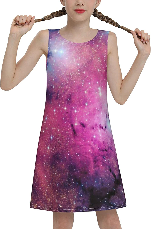 YhrYUGFgf Galaxy Sleeveless Dress for Girls Casual Printed Vest Skirt