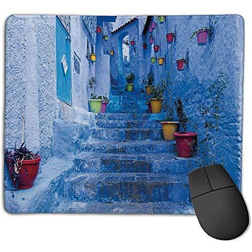 Muismat pad muismat blauw street met kleurrijke bloempotten in de stad chaouen in Marokko Travel Village