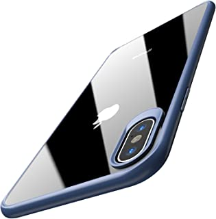 TOZO iPhone Xs Max 手机壳 6.5 英寸 (2018) 混合软手柄哑光透明背板超薄[超薄贴合] iPhone Xs Max 减震盖 蓝色