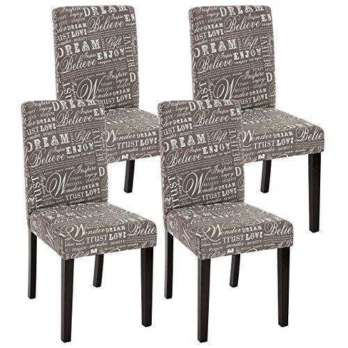 Mendler 4X Esszimmerstuhl Stuhl Küchenstuhl Littau - Textil mit Schriftzug, grau, dunkle Beine