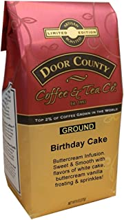 Door County Coffee, Birthday Cake, Vanilla Cake and Buttercream Frosting Flavored Coffee, Medium Roast, Ground Coffee, 10 oz Bag