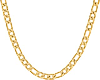16 Inches 30 Inches Figaro Chain Necklace 4mm 8.5mm Stainless Steel Figaro Link Chain for Men Women 18k Real Gold Plated
