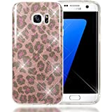 NALIA Purpurina Funda Compatible con Samsung Galaxy S7 Edge, Carcasa Protectora Movil Silicona Ultra-Fina Glitter Leopardo Gel Bumper, Lentejuela Cubierta Delgado Cover Phone Case - Pink Lilas
