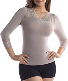 MD Womens Cool Compression Slimming Shirt Ideal Sports Tummy Bust Shaper Lace Trim