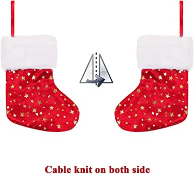 LimBridge Christmas Mini Stockings, 24 Pack 8 inches Glitter Star Print with Plush Cuff, Classic Stocking Decorations for Who