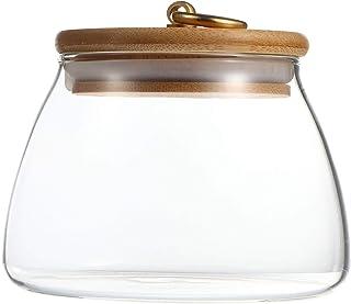 Cabilock Pot de Nourriture en Verre de 500 ML avec Couvercle en Bois Boîte Hermétique Conteneur de Stockage des Aliments C...