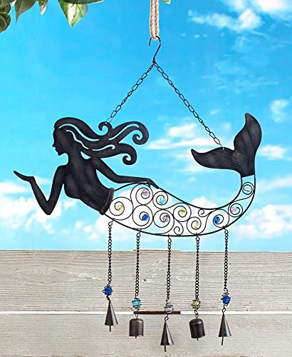 high quality SkyMall discount Metal Indoor/Outdoor 3 in 1 Magical outlet sale Mermaid Wind Chime outlet sale