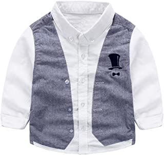 Tortor 1bacha(JP) キッズシャツ 子供シャツ カジュアルシャツ フォーマルシャツ ベビー服 子供服 ボーイズ 男の子 長袖 結婚式 入園式 可愛い 綿80% 白色 青 パープル 100 110 120 130 140 (120, ホワイト)