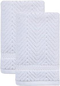 Ozan Premium Home Maui Collection 100% Cotton Towels Sets for Bathroom (2 Piece Set Wash Cloths 13x13, White)
