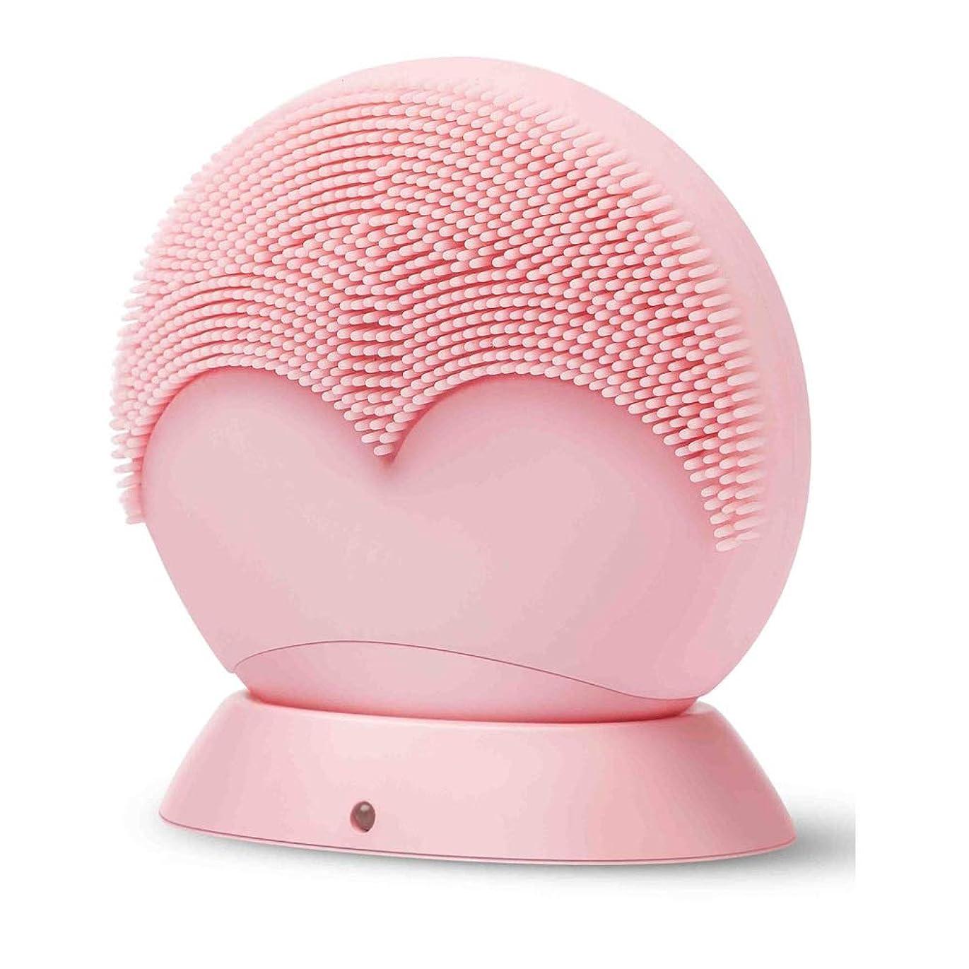 ZXF ワイヤレス充電超音波振動クレンジングブラシディープクリーンミュートシリコンクレンジング楽器防水 滑らかである (色 : Pink)