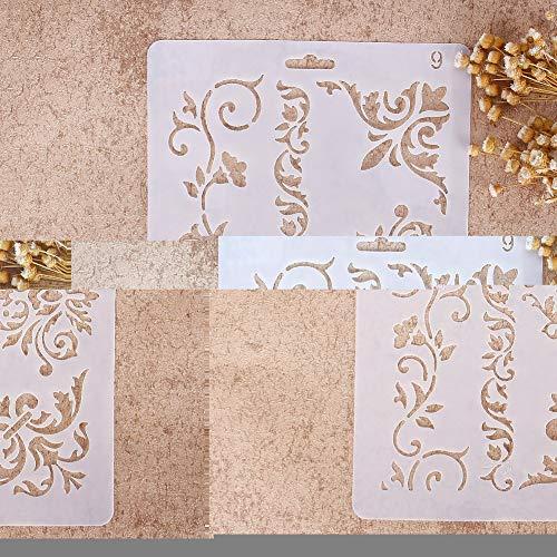 Hangqiao DIY Plantillas con diferentes patrones para pintar con aerógrafo, para manualidades y decoración, 09, 01#