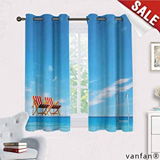 Big datastore House Decor Collection Curtain Set for Living Room,Swimming Pool with Beach Chairs Armchair Sunlight Outdoors Waterscape Sunbath Image Multicolor Printed,Blue Red W55 x L63