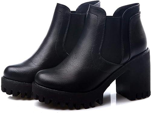 HBDLH Chaussures pour Femmes Gros Et Court Court Les Bottes Martin Bottes étanches Tableau Talon Haut Chaussures De Femme Tête Ronde Bottes 8  articles promotionnels