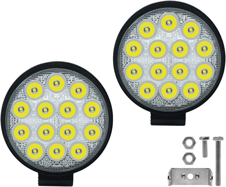 42W Work Spot Lights Heavy Duty Circular LED Fog Light OffRoad Driving Lamp 2 Pcs