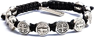 Handwoven Blessing Bracelet with Benedictine Metal Charms