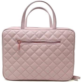 Neceser de piel para mujer – Tamaño grande cosmético con 4 bolsillos – Hardware de oro rosa e interior de satén – rosa polvo