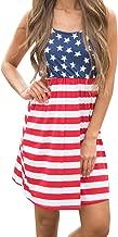 Imily Bela Women's Sleeveless Floral Print Stars and Stripes Racerback Midi Tank Dress USA Flag