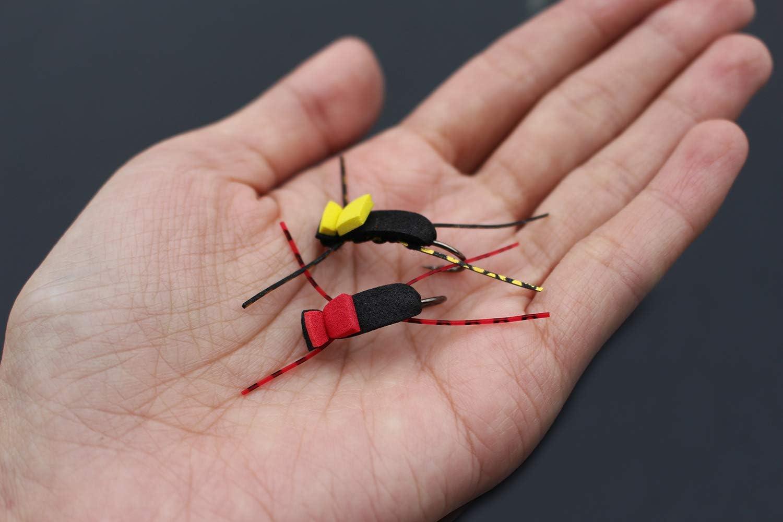 Tigofly Lot de 12 leurres de p/êche /à la mouche terrestre en mousse Taille 4