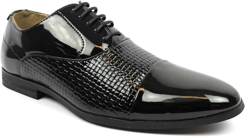 AZAR MAN Men's Cap Toe Textured Black Patent Tuxedo Dress shoes Oxfords by Azar
