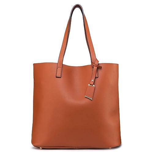 1fef6fa373e ilishop PU Leather Handbag Designer Pures - Pure Color Large Capacity  Shoulder Bag-Classical Tote