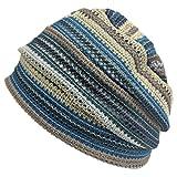 Charm Men Summer Beanie Knit - Women Hipster Slouchy Hat Boho Street Fashion Cap Blue
