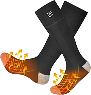 ANGUO Heated Socks Rechargeable, Winter Electric Socks for Men Women Thermal Battery Socks for Camping and Skiing and More...