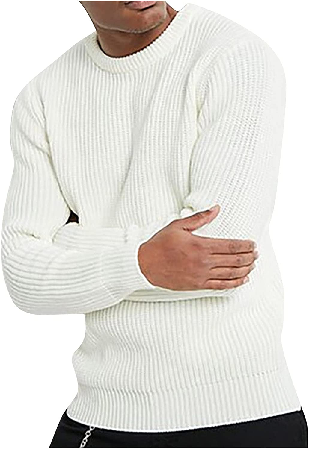 Men's Solid Crewneck Pullover Ribbed Casual Knitted Turtleneck Long Sleeve Autumn Winter Sweater Blouse Top
