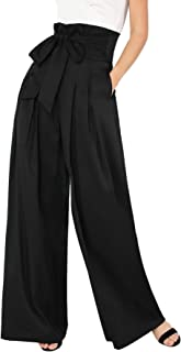 Womens Wide Leg Pants High Waist Palazzo Lounge Long Trousers