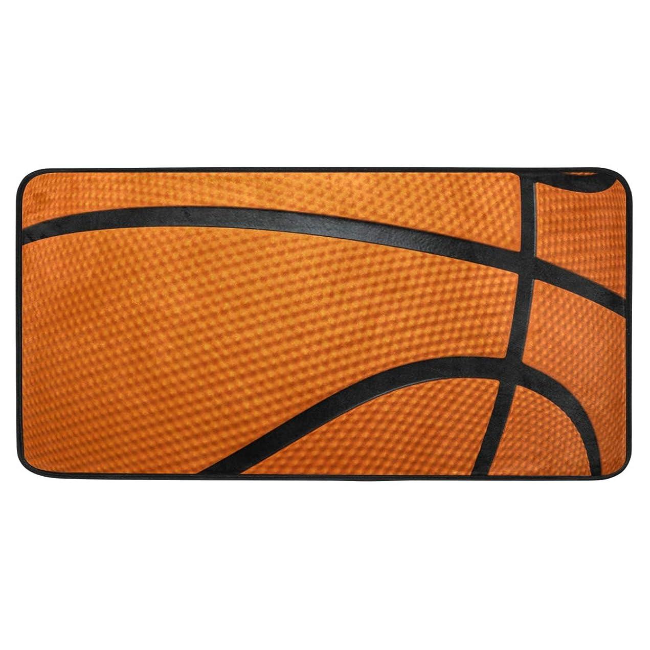 したがってゴールデン早熟カオリヤ キッチンマット バスケットボール柄 印刷パターン スポーツ 100×50cm 長方形 ロングマット 長い ブラウン デザインドアマット 滑り止め