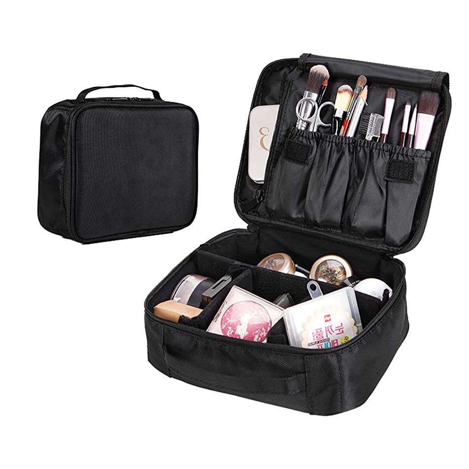 Makeup Bag Waterproof Double-layer Large Capacity with Mezzanine and Zipper Multi-function Travel Portable Cosmetic Bag for Men and Women (Black)