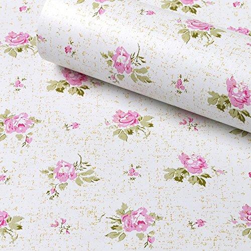 SimpleLife4U Pink Rose Furniture Protect Paper Removable Shelf Liner for Kitchen Cabinet Dresser Drawer Covering