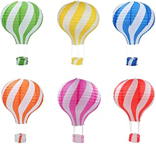 Famgee 12 inch Hanging Hot Air Balloon Paper Lanterns Set Party Decoration Birthday Wedding Christmas Party Decor Gift Set, Pack of 6 Pieces Stripe Style