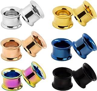 D&Min Jewelry Juego de 12 pendientes túnel en 6 colores, con rosca, acero inoxidable