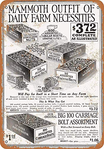 MNUT Metallschild 1919 Sears Mammoth Outfit of Nuts and Bolts aus Aluminium, 20,3 x 30,5 cm