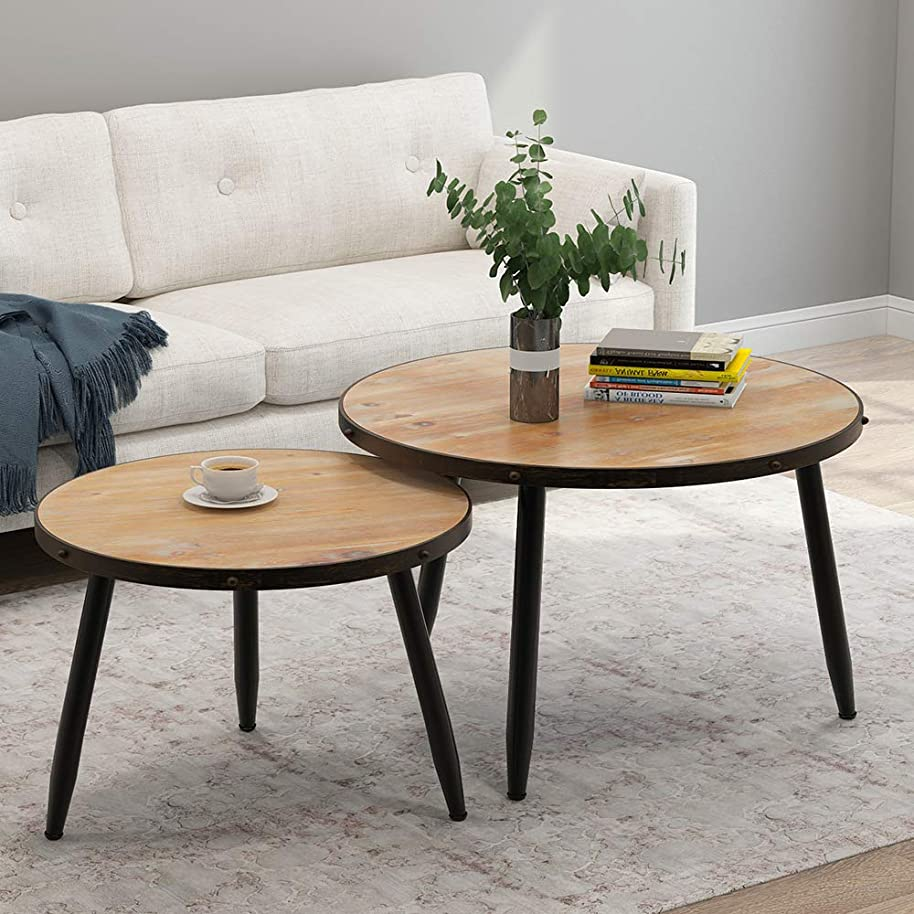 Tribesigns Industrial Nesting Coffee Table Set of 2, Round End Side Table for Living Room Balcony Home and Office, Solid Wood & Metal Tube