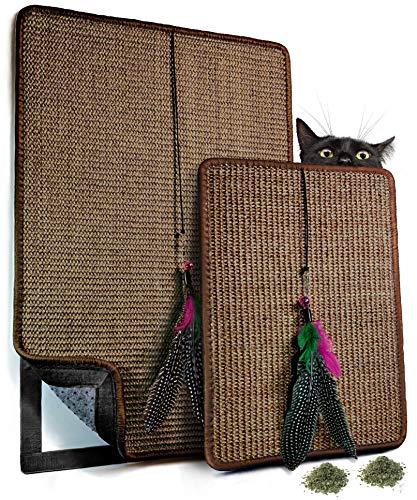 VALKYRA - Rascador para gatos autoadhesivo, alfombrillas de sisal para superficies horizontales y verticales, juego de plumas y hierba gata (Valkyra Set, tierra).