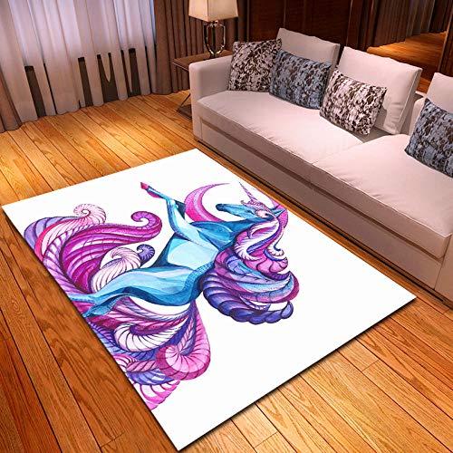 CGZLNL Alfombra de Suelo Unicornio de Dibujos Animados Home Alfombra Impreso Fácil de Limpiar Salón Comedor Dormitorio Alfombra de Suelo Tamaño: 120 x 170 cm