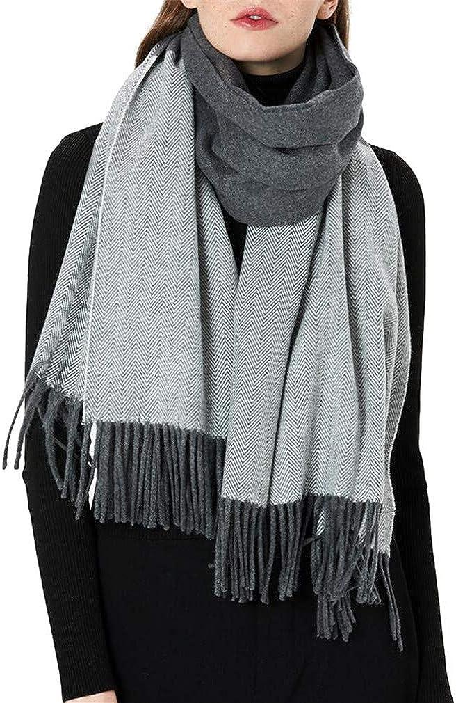 Youngate Womens Winter Warm Wool Blend Scarf Stylish Plaid Shawls Wraps