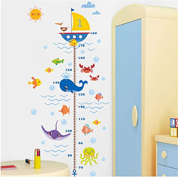Cartoon Shark Fish Boat Height Measure Wall Sticker For Kids Room PVC Growth Chart Wall Decals Posters Mural Bathroom Decor