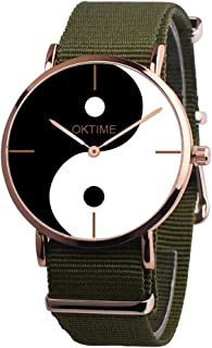 Watches for Women Watches Womens Canvas Quartz Watches Yin-Yang Big Face Eight-Diagram Tactics Casual Pointer Alloy Analog Wrist Watch Teen Girls Fashion Round Watches