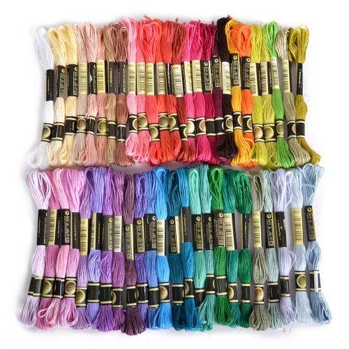 Stickgarn, 100% Baumwolle, 50 x verschiedene farbige Garnknäuel von Fligatto