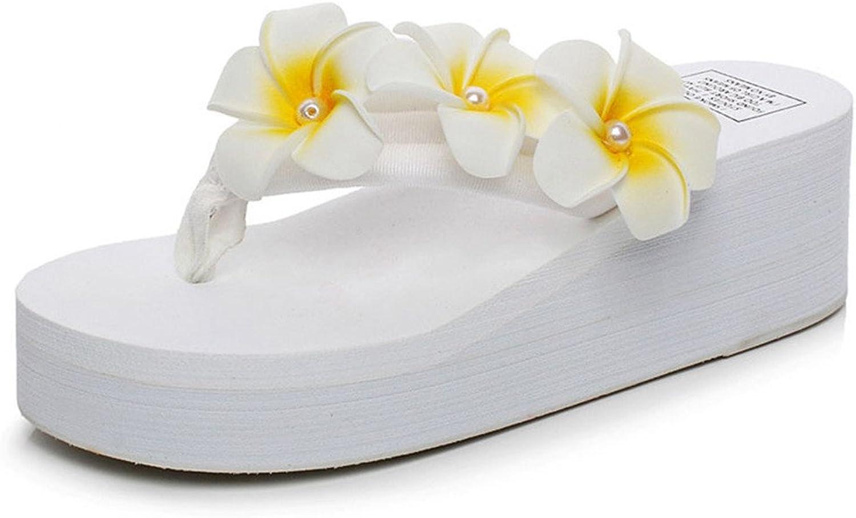 Giles Jones Wedge Flip Flops Sandals for Women,Summer Boho Flower Beach shoes