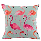 JES&MEDIS Flamingo Pattern Throw Pillow Covers Cases Square Decorative Cushion Covers for Sofa Couch Bed Home Decoration 18 x 18 (6#)