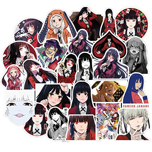 MNHG Laptop Stickers Anime Pack 50Pcs KAKEGURUI Stickers Car Motorcycle Travel Luggage Phone Guitar Classic Graffiti Sticker Decals Kid Gift