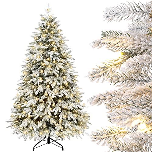 Yorbay Sapin de Noël Artificiel Lumineux LED avec Neige Blanche épaisse, Épicéa Naturel Floqué 150cm - 210cm Sapin Artificiel pour Décoration Noël, en PE et PVC (180cm)